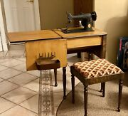 Vintage Black Singer Sewing Machine In Cabinet Well Preserved Circa 1950