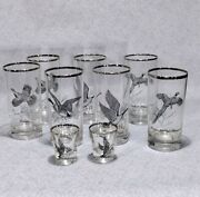 9 Vintage Ned Smith Game Birds Glassware- Highball And Shot Glasses Silver Rim