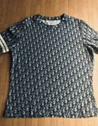 Christian Dior Trotter Pattern Short Sleeve T-shirt Women's Size 46 Authentic