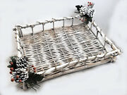 Woodland Christmas Twig Tray Beautiful 18 Dept 56 New Pine Cone Silver Tinsel