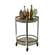 Rolling Bar Cart In Stainless Steel With Marble Shelves