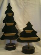 Retired Set Of 2 Wood Green Christmas Trees Shelves And Round Base Primitive Tht