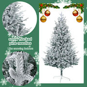 6ft Artificial Christmas Tree White Snow Covered Xmas Decorations Decor W/stand