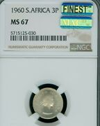 1960 South Africa 3 Pence Ngc Ms67 Pq Mac Finest Grade And Mac Spotless