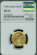 1994 Gold Eagle 10 1/4 Oz Ngc Ms70 Mac Finest Registry And Mac Spotless 007