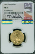1989 Gold Eagle 10 1/4 Oz Castle Ngc Ms70 Mac Finest Registry And Mac Spotless 9