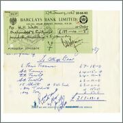 Bill Wyman Signed 67 Barclays Bank Cheque And Wh Watts Invoice Wyman Archive Uk