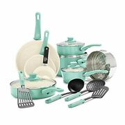 Greenlife Soft Grip Healthy Ceramic Nonstick, Cookware Pots And Pans Set, 16 Pc