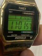 Vintage Gold Timex Indiglo Wr 30m Stopwatch Watch With Backlight