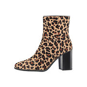 Coach Womens Drea Animal Print Beaded Ankle Boots Size 7 Nwob