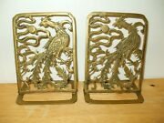Twovintage Peacock/bird Of Paradise Brass Folding Bookends By Hollywood Regency