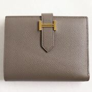 Hermes Bean Compact Vau Epson Gold Fittings Bifolded Wallet/ Leather Wallet