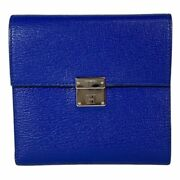 Hermes Click 12 C-engraved Trifold Purse Compact Wallet Leather Blue Silver