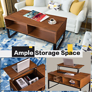 Lift-up Top Coffee Table Usa W/hidden Storage Compartment And Shelf Coffee Table