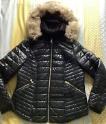 Ladies Size 18 River Island High Shine Puffer Jacket Coat Faux Fur Hood And Collar
