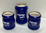 3 Pepsi Blue Insulated Can Koozie Coozie Drink Insulator Lot 4 1/2 X 5 1/2