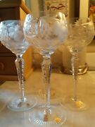 Natchmann Traube Bohemian Double Etched Hock Wine Glasses Set Of 4