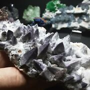 Fluorite Yttrium And Dog Tooth Calcite See Video Crystal 405g Mineral Specimen