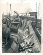 1942 Quebec Canada Endless Chain Of Logs On Saw Mill Conveyor Belt Press Photo