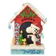 Jim Shore Peanuts Merry And Bright Snoopy By Dog House Figurine 6002771 New