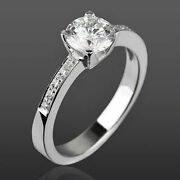Round 14 Kt White Gold 4 Prong Diamond Ring Solitaire And Accents 1.05 Ct New