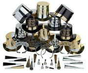 Shiny Bold Happy New Year 200-pc Party Favors Noisemakers Hats Kits For 100-ppl