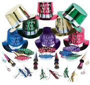 Glittery Happy New Year 200-pc Party Kit Noisemakers Tiaras Top-hats For 100-ppl