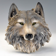 Realistic Wolf Animal Head Wall Hanging Decoration Resin 3d Art Figurines