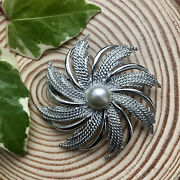 Vintage Sarah Coventry Brooch Statment Big Flower Spiral Silver Tone Mid Century