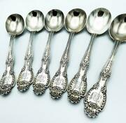 Set X 6 And Co Antique Sterling Silver Soup Spoons Patent 1892