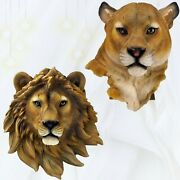 Realistic Lion Animal Head Wall Hanging Decoration Resin 3d Art Figurines