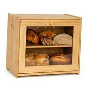 Large Bread Box Wood Bread Boxes For Kitchen Countertop Shelf Clear Bamboo