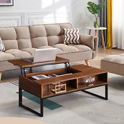 Lift-up Coffee Table Top Storage Compartment And Shelf Table Brown Finish W/hidden