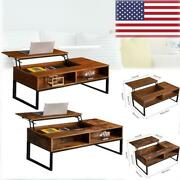 Lift-up Top Coffee Table Storage Compartment And Shelf Table Brown Finish W/hidden