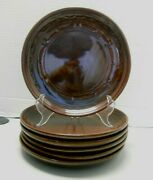 Marcrest Daisy Dot Brown Oven Proof Stoneware Dinner Plates 9 Set Of 6