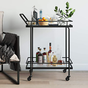 Nathan James Sally Rolling Bar Or Cart For Tea Or Cocktail 2-tiered Glass And M