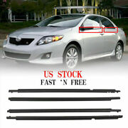 Window Weatherstrip 4pc Sweep Belt Outer Black For Corolla 2009 2010 2011-2013
