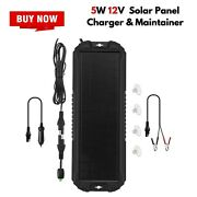 Portable Solar Panel Car Battery Trickle Charger 5w 12v Rv Boat Truck Motorcycle