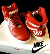 Nike X Supreme Air Force 1 High Sneakers Shoes Jp 28 Us 10 Red White From Japan