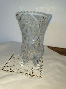 Unique Quirky Small Real Lead Crystal Vase With Scroll Legs By Anna Handuumltte