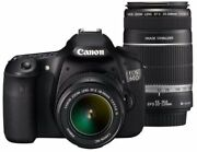 Canon Digital Slr Cameras Eos 60d Double Zoom Kit Ef-s18-55mm/ Secondhand