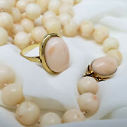 Vintage 18k Gold Angel Skin Coral Beads Necklace And Ring Set Taormina Italy