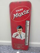 Vintage Advertising Moxie Soda Large Tin Store Thermometer A-963