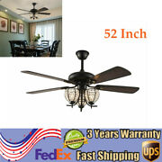 Modern Elegant 52ceiling Fan Light 5-wood Blade Metal Lampshade With Remote E26