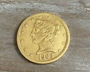Gold Five Dollar 1903-s U.s. Vintage Lady Liberty Coin