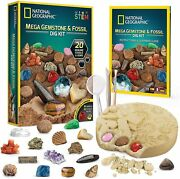 National Geographic Mega Gemstone And Fossil Dig Kit 20-genuine Learning Guide