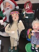 """Byers Choice Caroler Native American Indian Boy Holding String Of Fish 10"""" Iob"""