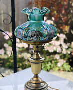 Fenton Green Carnival Glass Embossed Lamp Hand Painted Cats And Signed P Hayhurst