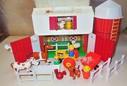 Vintage Fisher Price Little People Play Family Barn Animal Farm Silo 2501 Lot