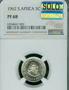 1962 South Africa 5 Silver Cents Ngc Ms-68 Solo Finest Grade Mac Spotless